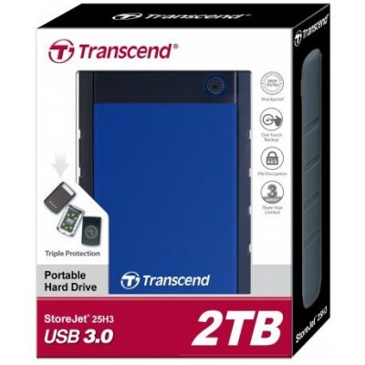 "Transcend Storejet 2TB 2.5"" H3 Usb 3.0 Portable Hdd – Blue-mine away"
