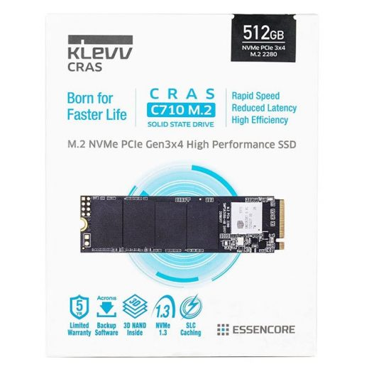 KLEVV CRAS C710 512GB M.2 PCIe 3×4 NVMe 3D NAND Internal Solid State Drive (SSD)