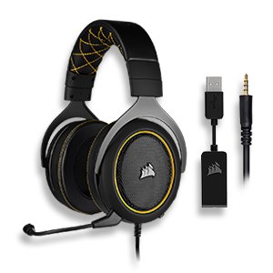 Corsair HS60 PRO Surround Gaming Headset — Carbon; Console Ready; 3.5 mm Analog